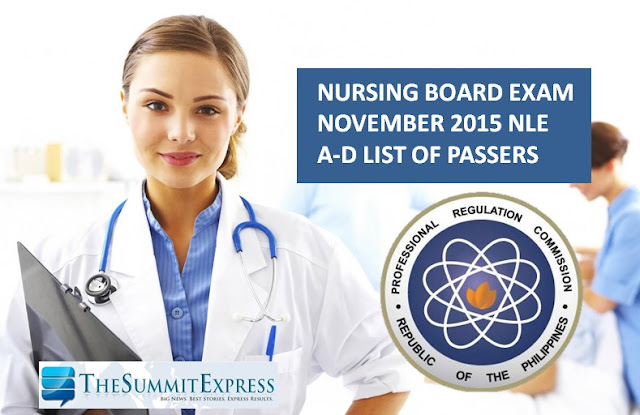 NLE Results November 2015 A-D List of Passers