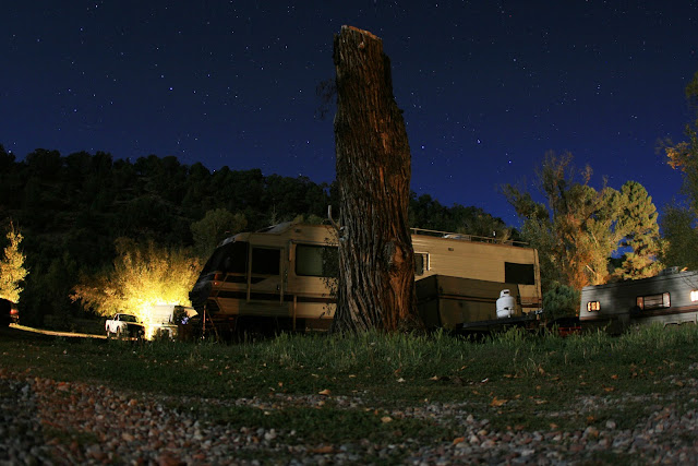 Stars and an RV park scene while camping in Colorado.