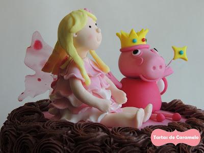 Tarta del hada buena y el hada Peppa Pig: detalle hadas