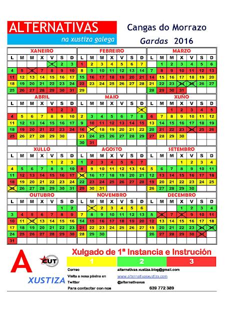 Cangas. Calendario gardas 2016