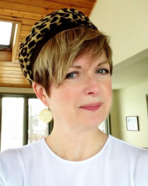 vintage leapard trimmed hat