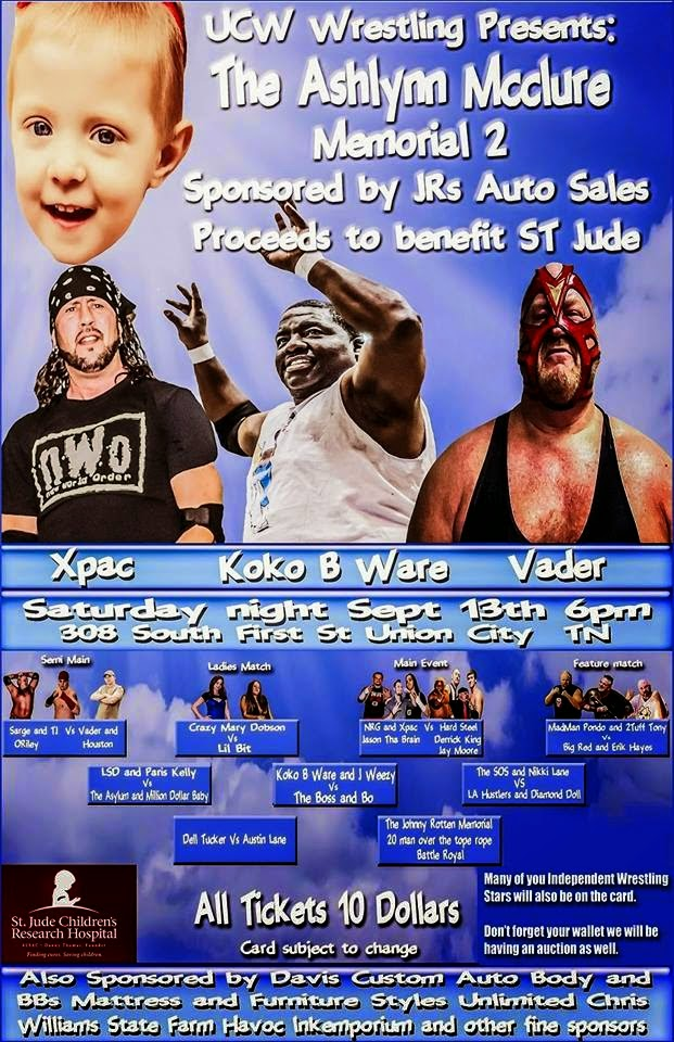wrestling news center the ashlynn mcclure memorial 2 benefit for st jude this saturday. Black Bedroom Furniture Sets. Home Design Ideas