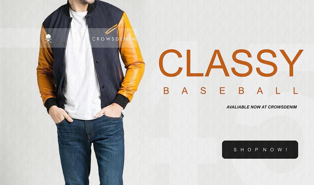 classy baseball crowsdenim fashion pria terbaru