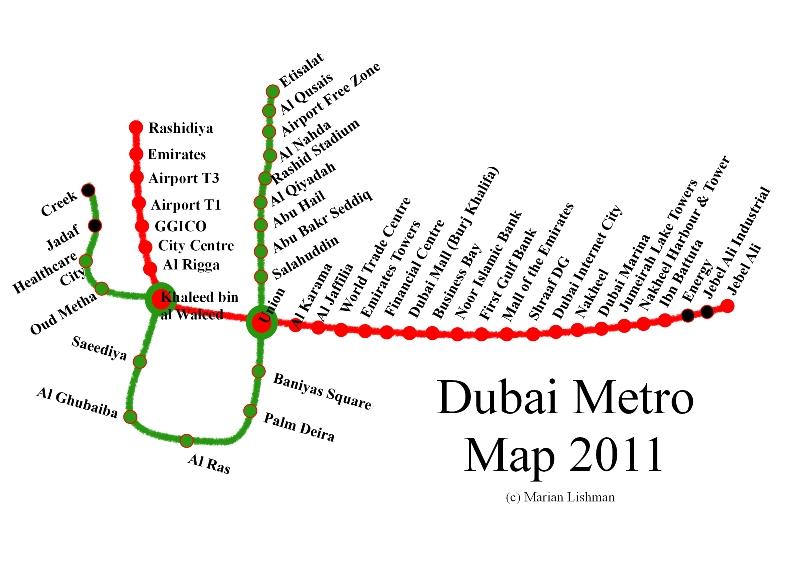 Схема метро дубай с достопримечательностями на русском
