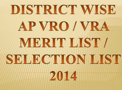 District Wise AP VRO VRA Merit List 2014 Results @www.ccla.cgg.gov.in