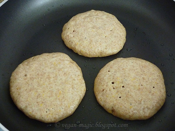 Whole Wheat Orange Pancakes Cooking