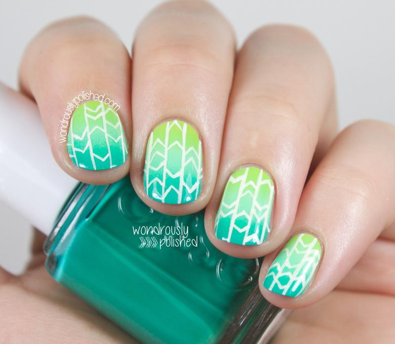 Gradient Nail Art: Wondrously Polished: Geometric Gradient Nail Art