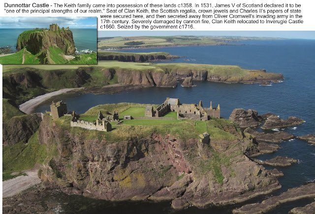 Montage images of Dunnottar Castle.
