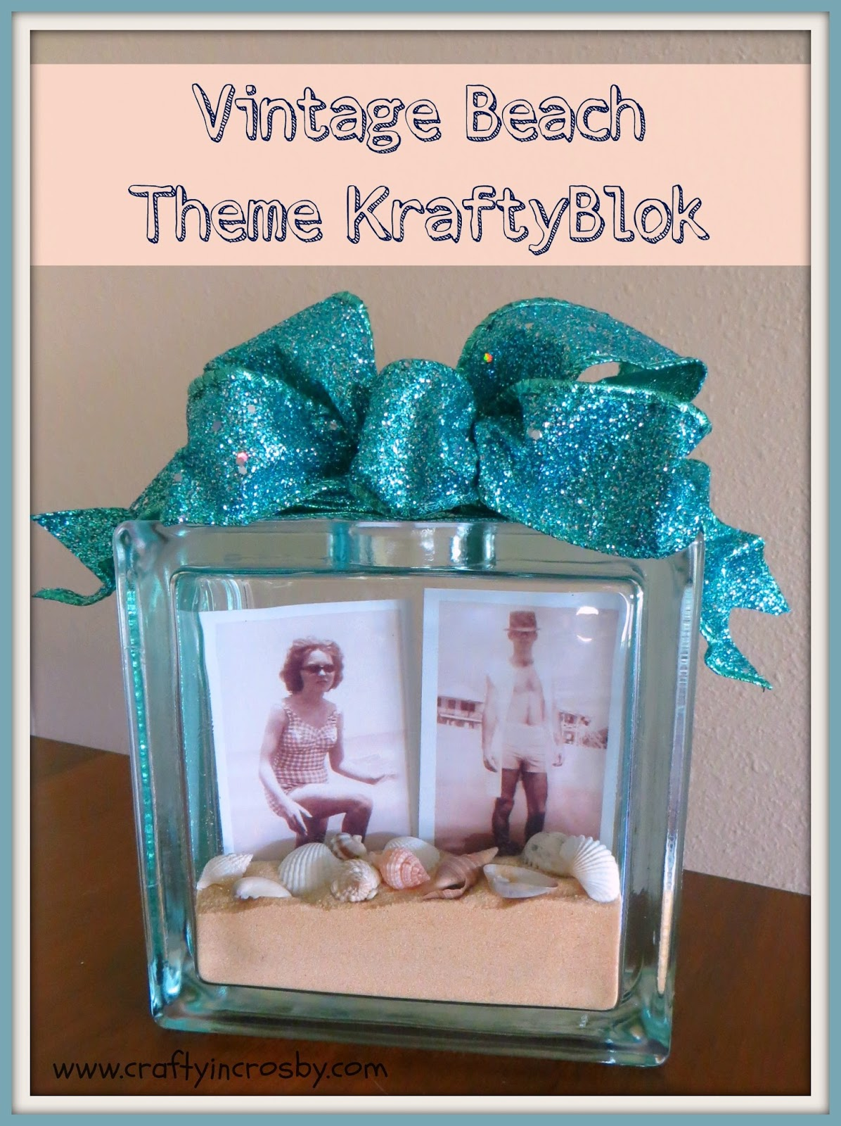 crafty in crosby beach theme mantel and vintage beach photos On glass block for crafts
