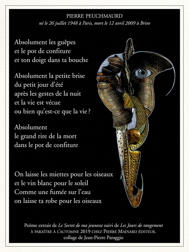 Poème extrait de Le Secret de ma Jeunesse, Novembre 2019 © Pierre Mainard éditeur