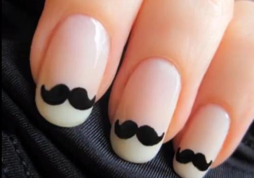 cute, mustache, nail art, nail design, nails - Little Girl: Cute, Mustache, Nail Art, Nail Design, Nails