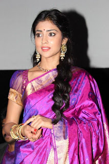 Shriya Saran in Lovely Traditional Khadwal Saree at Chandra Movie press meet