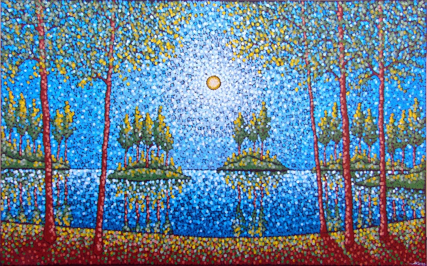 Spring, Lake Minnetonka, Aaron Kloss, Minnesota, Landscape Painting, Pointillism, Art