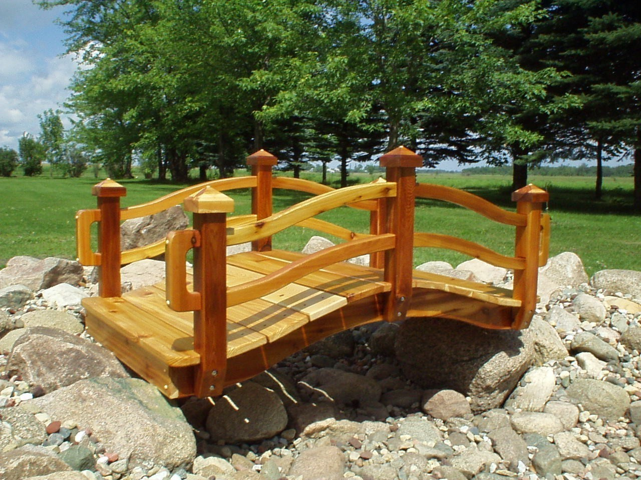 Garden bridges handcrafted wooden bridges for Fish pond bridges
