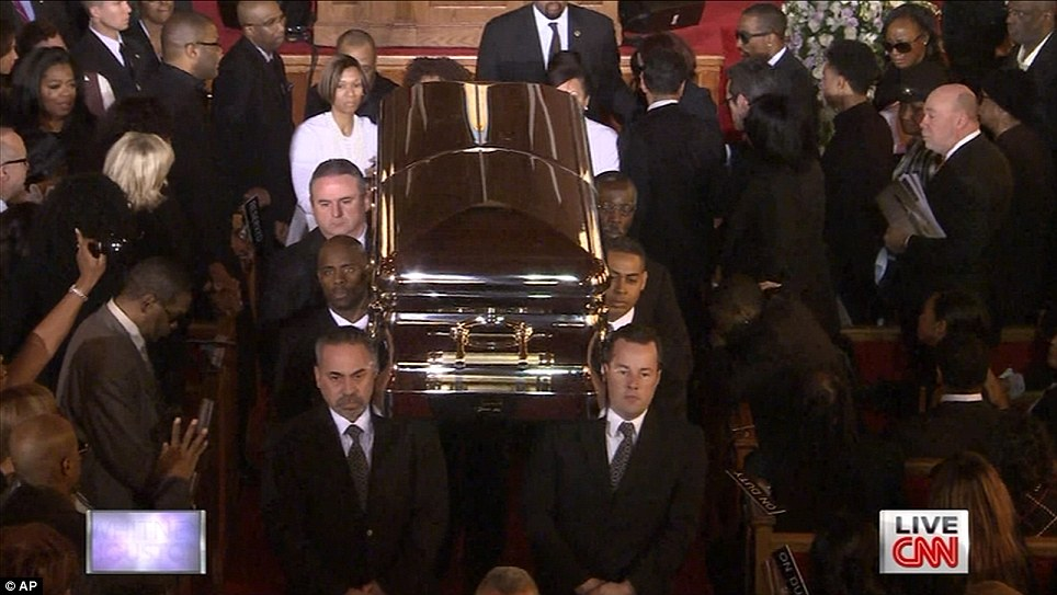 well always love you whitney is carried from funeral to