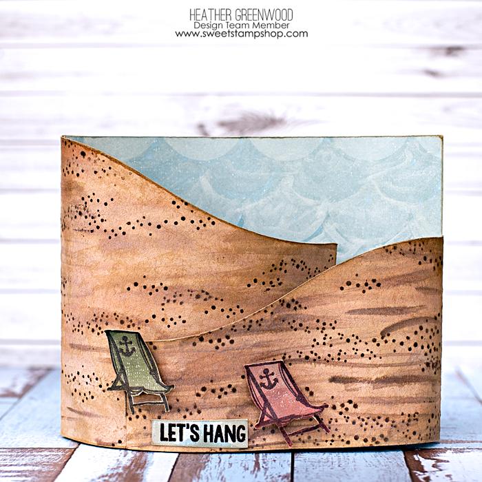 Heather Greenwood Designs | Sweet Stamp Shop - August Release | Beach Bum Stamp Set | Let's Hang Beach Bendy Card