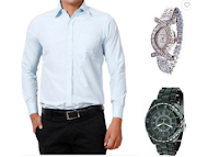Buy Hawk Blue Formals Shirt With Pair Of Couple Watches At 80% off at Rs 749 :Buytoearn
