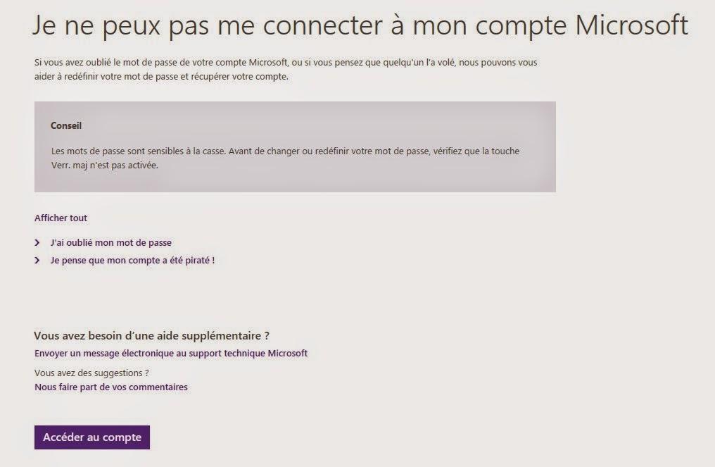 Je ne peux pas me connecter à mon compte Microsoft