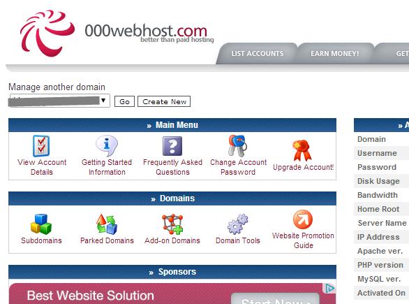 Control panel in 000webhost.com