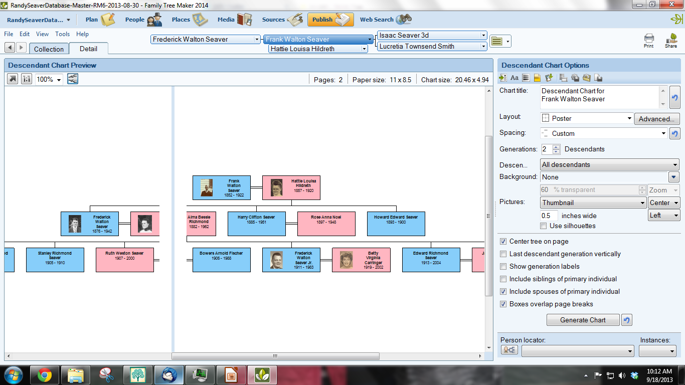 Genea-Musings: Making a Descendants Chart Using Family Tree Maker 2014