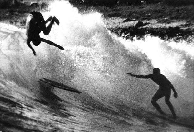 Doyle flipping out at Makaha in Hawaii, 1960.