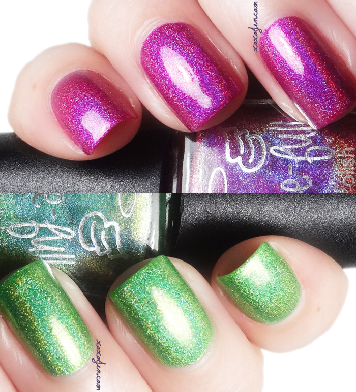 xoxoJen's swatch of Gracefull Magenta Sparks and Lime Splash