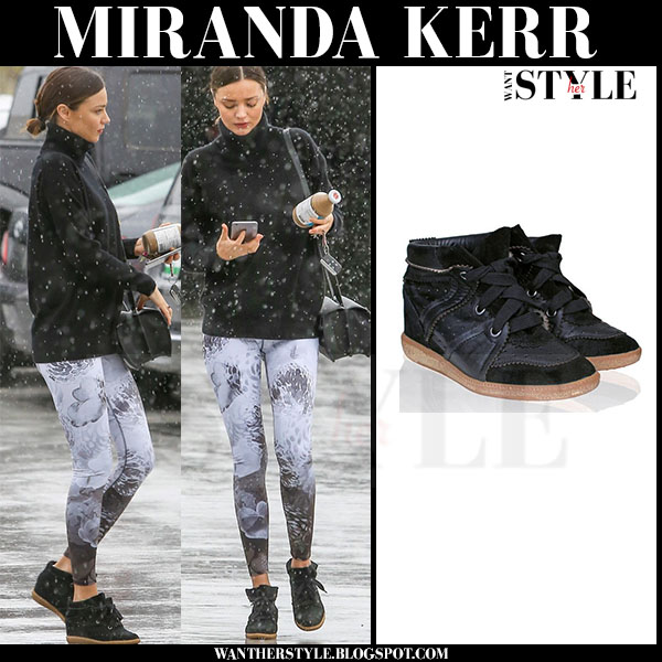 Miranda Kerr in black wedge Isabel Marant betty sneakers what she wore streetstyle