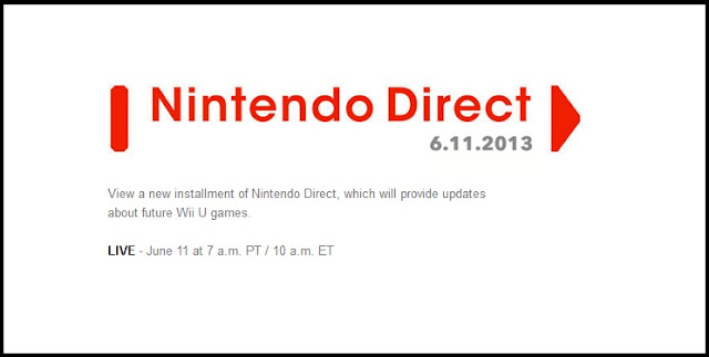 Screenshot of Nintendo Direct website announcing the date and time of the next broadcast, which will showcase a new 3D Mario game, Mario Kart, and Super Smash Bros. for the Wii U