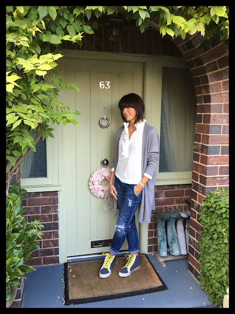 My Midlife Fashion, h and m ruffle blouse, rachel wears oversized cardigan, distressed denim, boden hi tops
