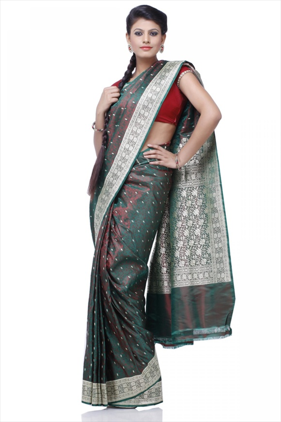 Amazon Green Satin Banarasi Saree