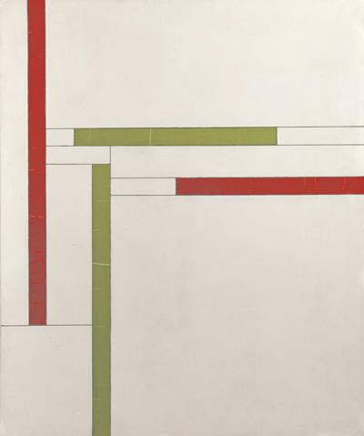 Georges Vantongerloo, Fonction de lignes, rouge, vert (Functie van lijnen, rood, groen), 1937, olieverf op triplex, 79,5 x 66,1 cm, Collectie Angela Thomas Schmid, Zumikon
