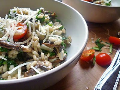 Spinach and Chestnut Mushroom Risotto