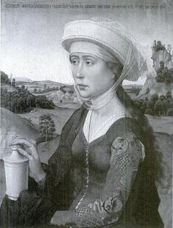 María Magdalena portando el recipiente con el aceite de nardo con el que ungió a Cristo. Roger van der Weyden.