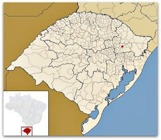 Cidade de Nova Pádua, no mapa do Rio Grande do Sul.