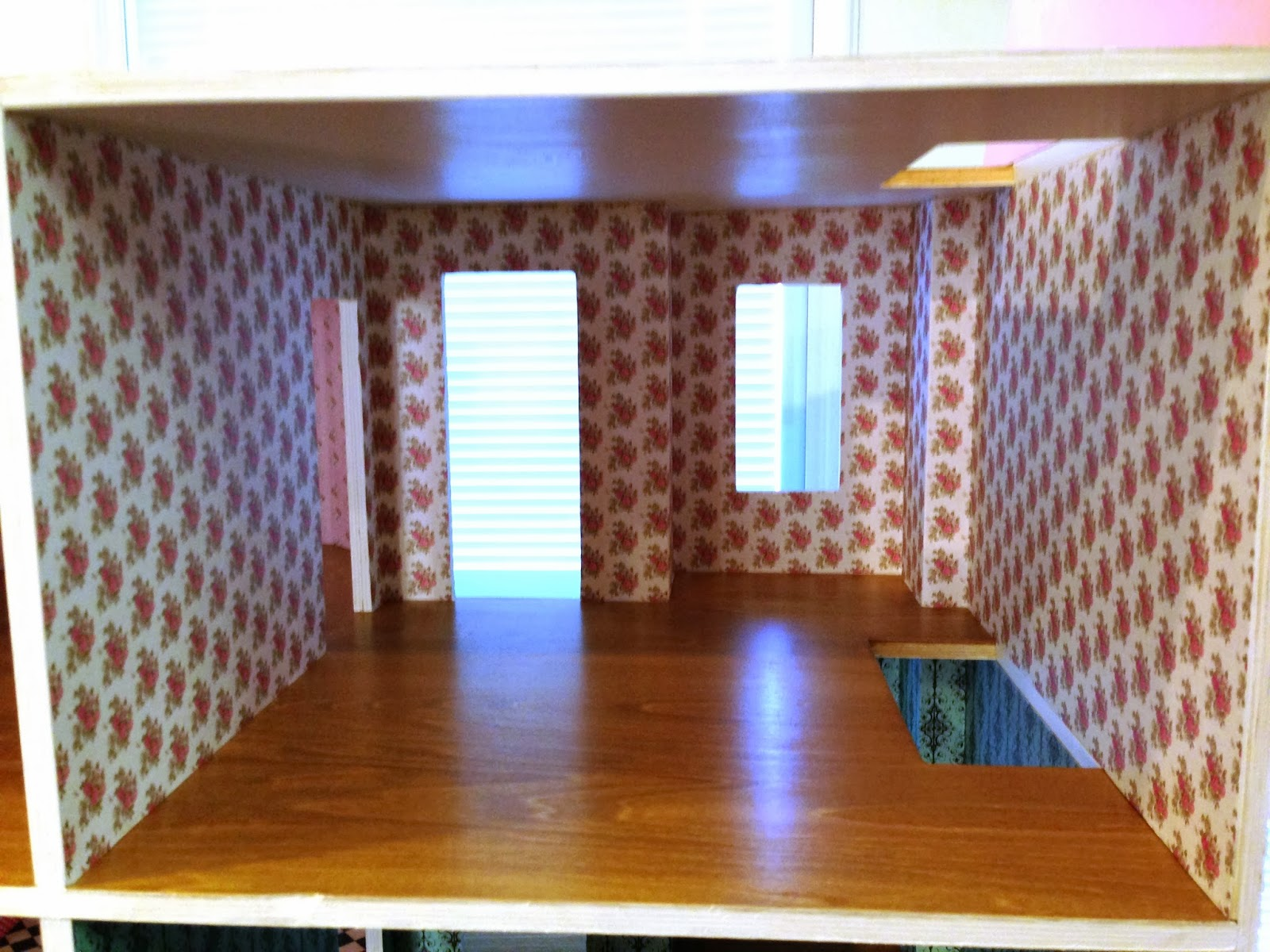 Scrapbook paper dollhouse wallpaper - This Bedroom Has A Pink Floral Print On The Walls Which Was Also A Dollhouse Wallpaper From Hobby Lobby The Floors In These Two Second Floor Rooms Have