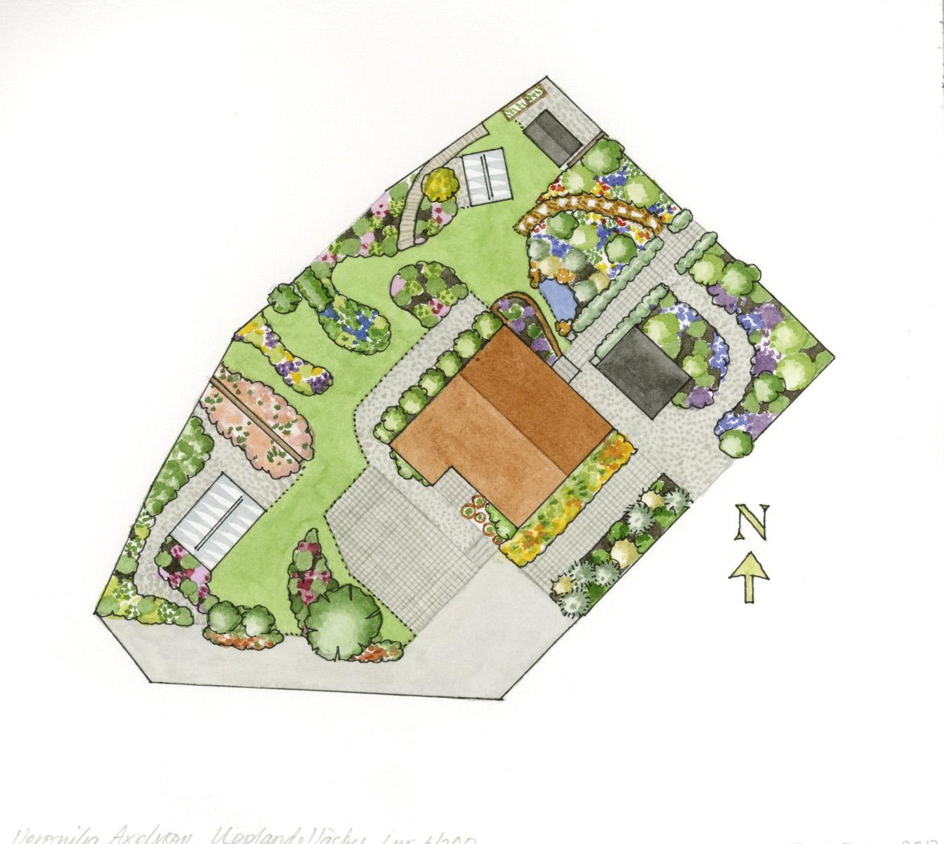 Skiss över trädgården i AOT 2017