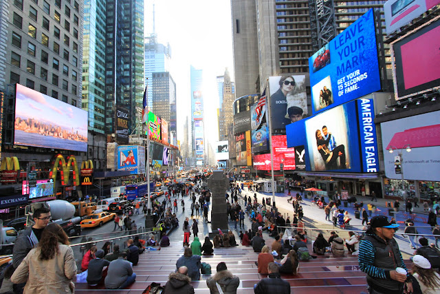The view of the popular attraction at Times Square in New York City, USA