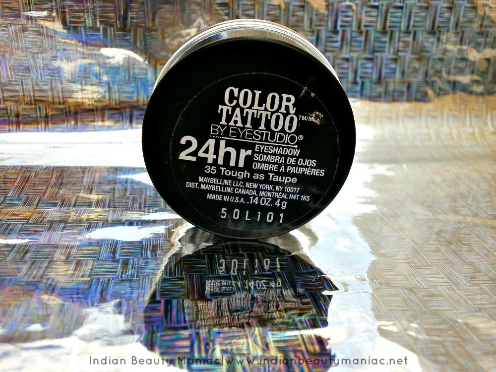 Maybelline Color Tattoo 24 Hour Eyeshadow in Tough as Taupe, Taupe, Cream Eyeshadow, Maybelline in India, Review, Swatch, Price, Availability, Maybelline, Tough as Taupe, Color Tattoo, Indian Beauty Blogger, Indian Makeup Blogger