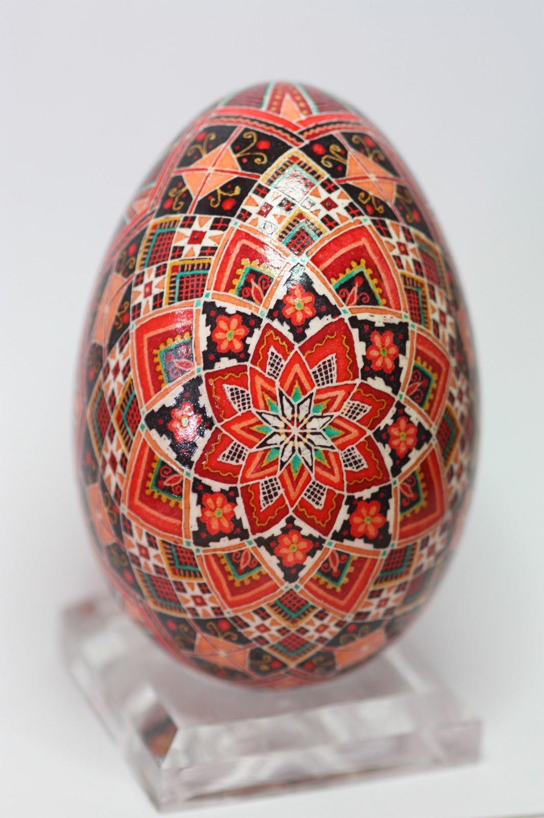 Traditional Rose Goose Egg Pysanky in Scarlet, Red, Peach, Green and Yellow