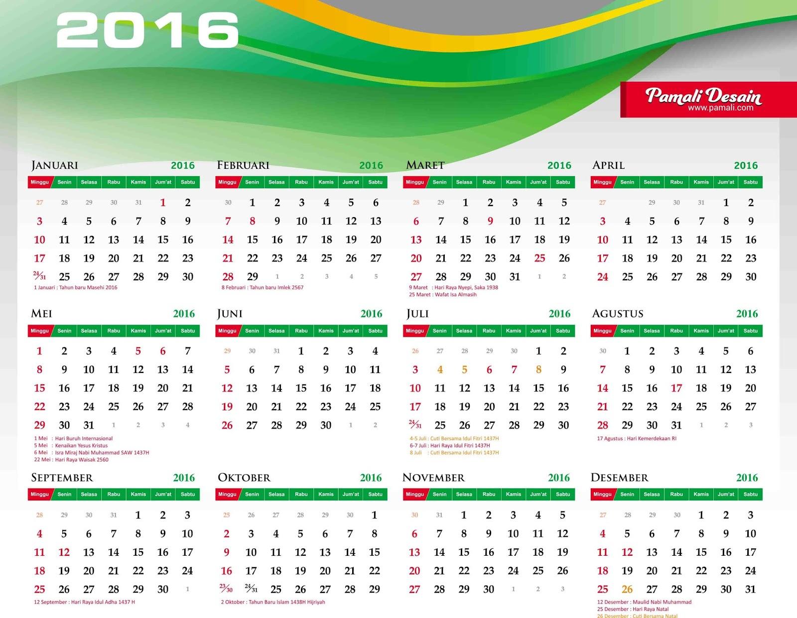 KalenderTahun2016BesertaJadwalTanggalHariLibur