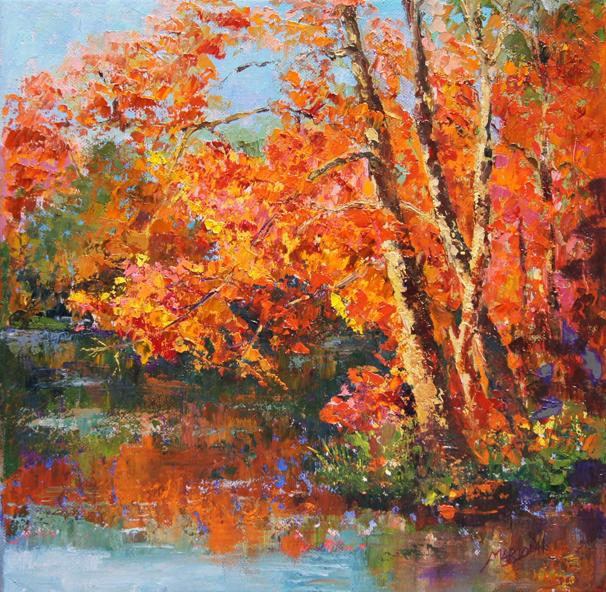 Palette knife painters autumn reflections oil painting by for Fall pictures to paint
