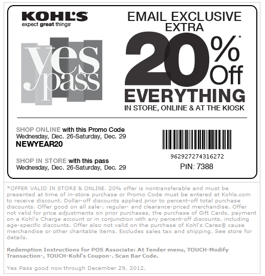 Kohls coupons 30 percent off january 2018