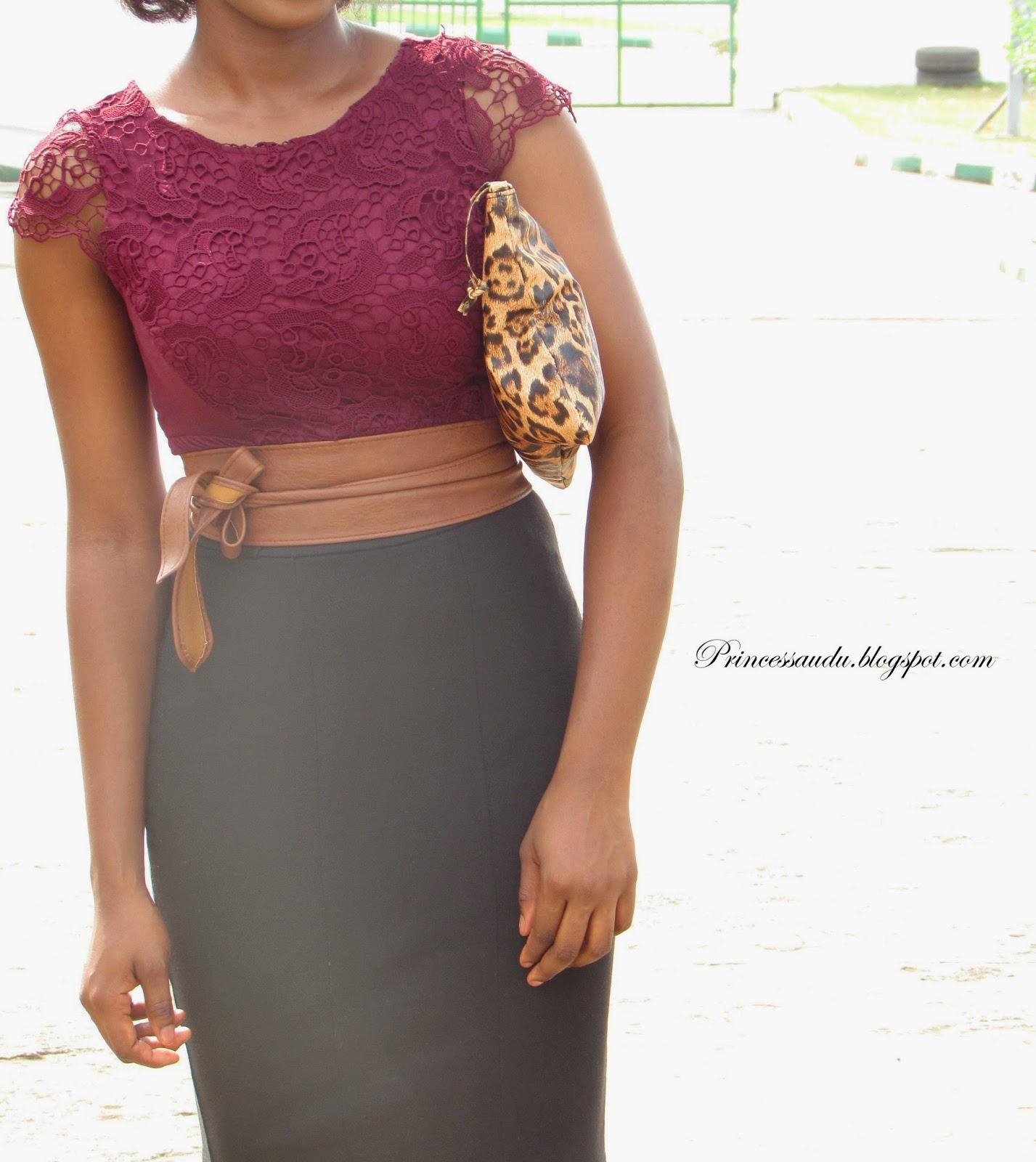 Lace blouse, burgundy, belt, brown, statement belt, leopard print purse
