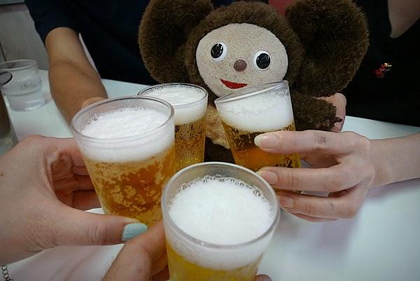 天下一品 ビールで乾杯