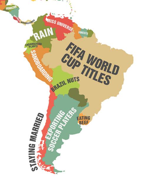 """El mapa de """"En que lidera en el mundo cada país"""""""