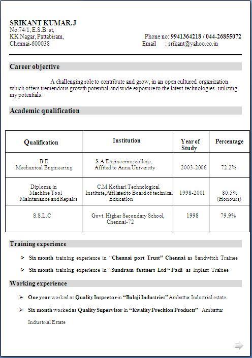 Example perfect resume