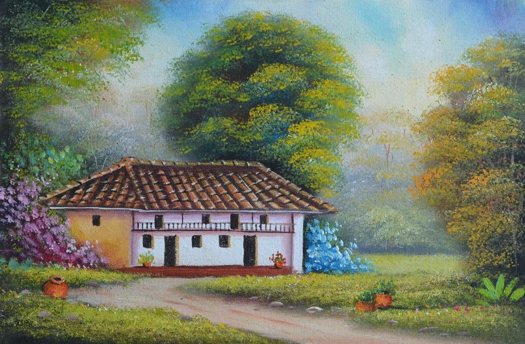 Im genes arte pinturas paisajes costumbristas colombianos - Paisajes de casas ...