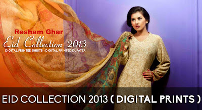 Resham Ghar Digital Printed Eid Collection 2013 For Women