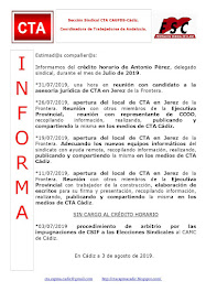 C.T.A. INFORMA CRÉDITO HORARIO ANTONIO PÉREZ, JULIO 2019