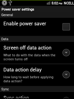 CyanMobile Power Saver General Settings